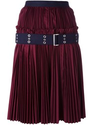 Sacai Plisse Pleated Skirt Red