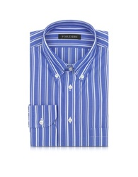 Forzieri Blue And White Striped Button Down Men's Shirt