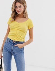 Hollister Tiny Crop Top With Ruching Yellow