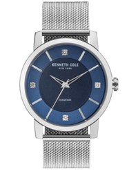 Kenneth Cole New York Men's Diamond Accent Stainless Steel Mesh Bracelet Watch 43.5Mm Kc15105002 Silver