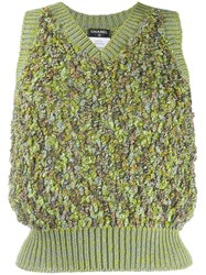 Chanel Vintage Knitted Skirt Suit Green