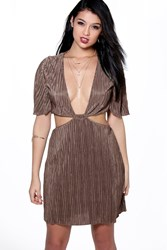 Boohoo Pleat Cap Sleeve Cut Out Detail Skater Dress Khaki