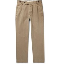 Massimo Alba Slim Fit Pleated Brushed Cotton Twill Trousers Beige