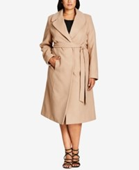City Chic Trendy Plus Size Belted Wrap Coat Caramel