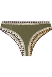 Kiini Wren Crochet Trimmed Briefs Army Green