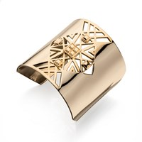 Fiorelli Costume Large Gold Cut Out Pattern Cuff Bangle