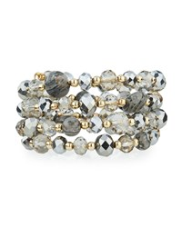 Emily And Ashley Greenbeads By Emily And Ashley Beaded Crystal Wire Wrap Bracelet Gray