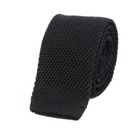 40 Colori Black Solid Silk Knitted Tie
