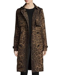 Jane Post Double Breasted Leopard Print Midi Trenchcoat Brown