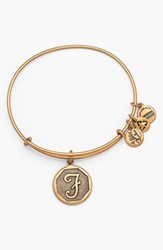 Women's Alex And Ani 'Initial' Adjustable Wire Bangle F Russian Gold