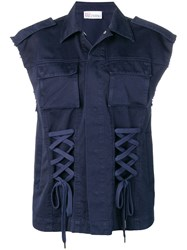 Red Valentino Lace Up Detailed Gilet Blue