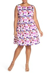 Plus Size Women's Gabby Skye Floral Burnout Scuba Knit Fit And Flare Dress
