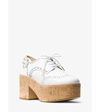 Lex Leather And Cork Platform Oxford Slingback Optic White