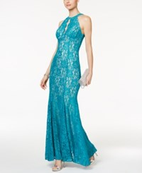 Nightway Lace Keyhole Halter Gown Turquoise Nude