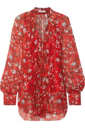 Erdem Rosabel Pussy Bow Floral Print Silk Chiffon Blouse Red