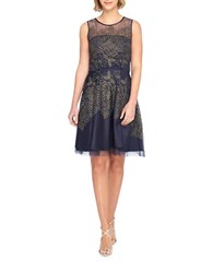 Tahari By Arthur S. Levine Embroidered Mesh Fit And Flare Dress Black Gold