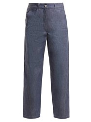 Christophe Lemaire High Rise Straight Leg Jeans Blue
