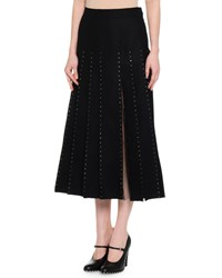 Red Valentino Calf Length Pleated Skirt W Crystal Edge Tulle Inserts Black Women's