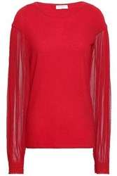 Amanda Wakeley Paneled Cashmere And Silk Tulle Sweater Red