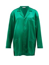 Balenciaga Bb Logo Embroidered Satin Shirt Green