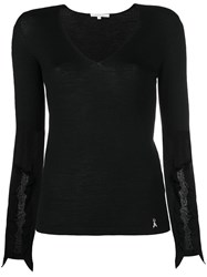 Patrizia Pepe Sheer Detail Sweater Black