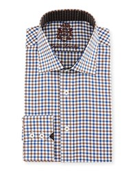 English Laundry Check Woven Dress Shirt Blue Brown