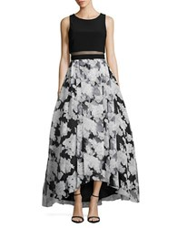 Betsy And Adam Two Tone Sleeveless Popover Gown Black White