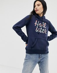Hollister Floral Embroidered Logo Hoodie Navy