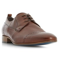 Bertie Prickle Punch Hole Toecap Detail Leather Derby Shoes Tan
