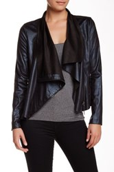 Insight Draped Collar Cracked Faux Leather Jacket Blue