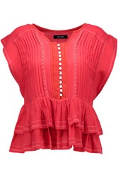 Isabel Marant Raquel Ruffled Beaded Cotton Gauze Top Red