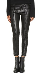 Blank Vegan Leather Embroidered Skinny Pants Wake Up Call
