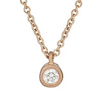 Tate White Diamond Pendant Necklace Rose Gold