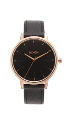Nixon Lux Life Kensington Leather Watch Rose Gold Black