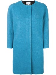 Akris Punto Zipped Boxy Coat Blue
