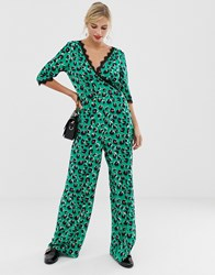 Liquorish Wrap Front Jumpsuit In Bright Leopard Print With Lace Trim Sleeve Detail Multi