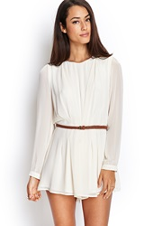 Forever 21 Georgette Romper W Braided Faux Leather Belt Cream