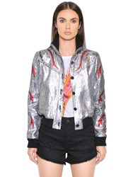 Just Cavalli Crackled Laminated Leather Jacket