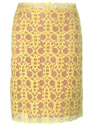 Emilio Pucci Straight Cut Macrame Skirt Yellow And Orange