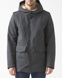 M.Studio Grey Sherpa Lined Cotton Victor Parka