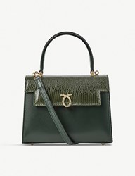 Launer Judi Lizard Leather Tote Dark Green