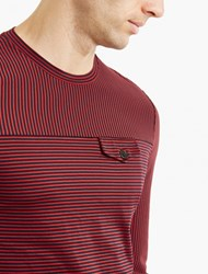 Maison Martin Margiela Navy Striped Long Sleeved T Shirt Red