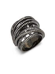 Noir Crystal Ring Black