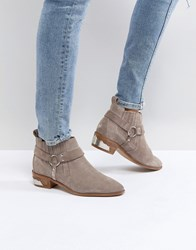 Office Atlas Taupe Suede Western Ankle Boots Grey