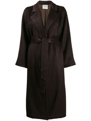 Forte Forte Belted Single Breasted Coat Brown