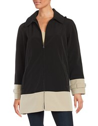 Jones New York Colorblocked Raincoat Black Wicker