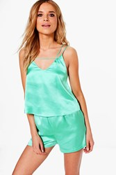 Boohoo Satin Cami And Short Pj Set Samphire Green