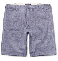 Alex Mill Slim Fit Melange Linen And Cotton Blend Shorts Storm Blue