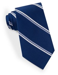 Lord And Taylor Double Clean Striped Tie Blue