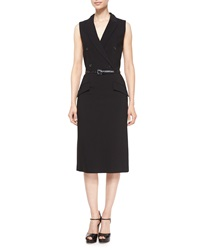 Michael Kors Sleeveless Belted Tuxedo Dress Black